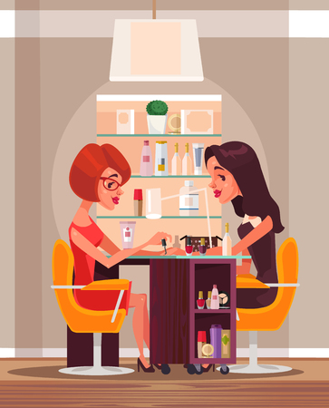 Happy smiling woman doing manicure in beauty salon. Vector flat cartoon illustration