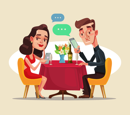 Illustrazione per A man and a woman sitting in the cafe on a date and using smart phone vector flat cartoon illustration - Immagini Royalty Free
