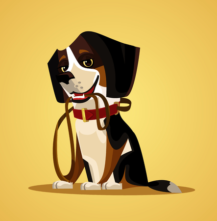 Illustration pour Happy smiling dog character hold leash in mouth. Vector flat cartoon illustration - image libre de droit