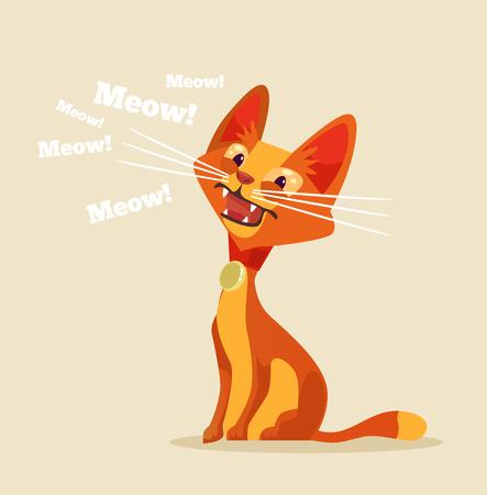Ilustración de Cute cat character meow. Vector flat cartoon illustration - Imagen libre de derechos