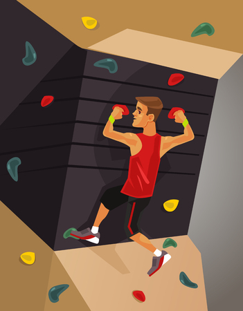 Illustration pour Climbing machine simulator. Vector flat cartoon illustration - image libre de droit