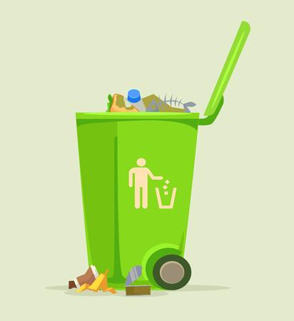 Ilustración de Trash can basket dustbin isolated icon. Vector flat cartoon illustration - Imagen libre de derechos