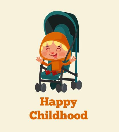 Ilustración de Happy smiling little girl sitting in a stroller. Happy childhood concept. Vector flat cartoon illustration - Imagen libre de derechos