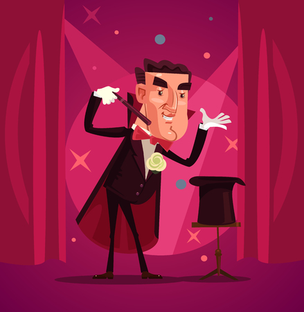 Illustration for Happy smiling magician. Vector flat cartoon illustration - Royalty Free Image