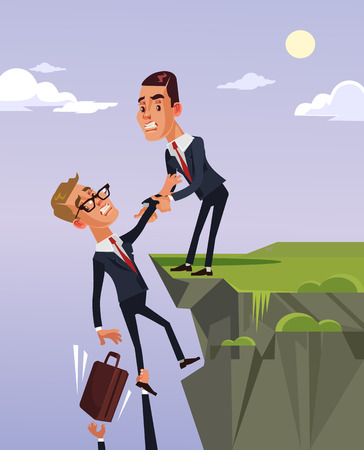 Illustrazione per Businessman office worker character giving to colleague helping hand and help to get out of the financial crisis. Vector flat cartoon illustration - Immagini Royalty Free