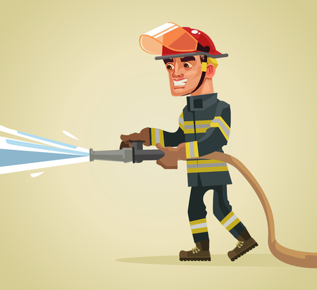 Illustration for Smiling fireman character holding hose extinguishing fire with water. Vector flat cartoon illustration - Royalty Free Image