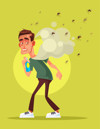 Illustration pour Man spraying insect repellent  in flat cartoon illustration. - image libre de droit