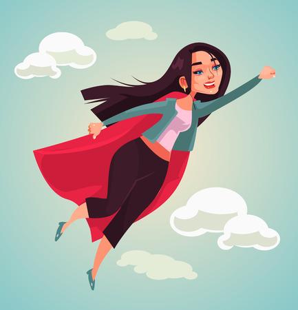 Ilustración de Super woman character flying  in flat cartoon illustration. - Imagen libre de derechos