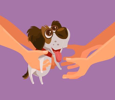 Ilustración de Happy smiling puppy. Vector flat cartoon illustration - Imagen libre de derechos