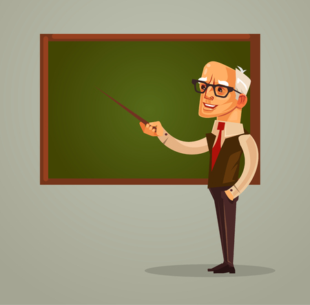 Illustration pour Happy smiling professor teacher old man character pointing on blackboard. Vector flat cartoon illustration - image libre de droit