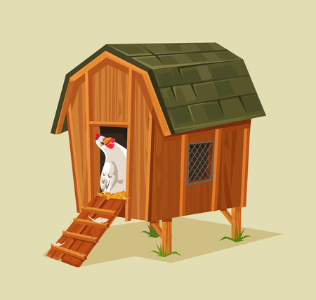 Illustration pour Happy smiling chicken character looking out nest. Vector flat cartoon illustration - image libre de droit