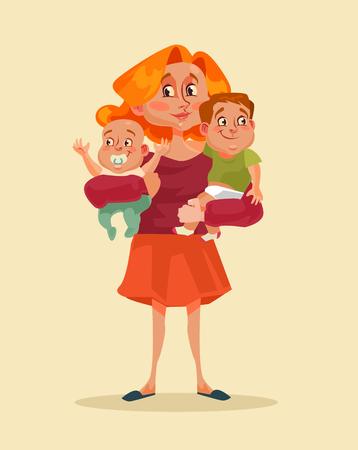 Illustration pour Happy smiling mother holding two children in hands. Vector flat cartoon illustration - image libre de droit