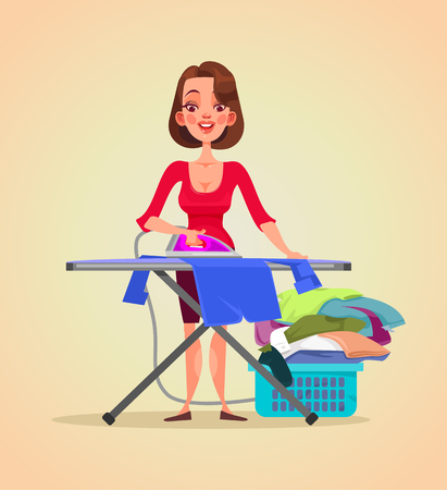 Illustration for Happy smiling woman housewife character ironing clothes. Vector flat cartoon illustration - Royalty Free Image