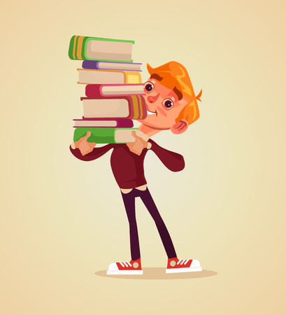 Illustration for Happy smiling cheerful boy student character hold pile of book. Vector flat cartoon illustration - Royalty Free Image