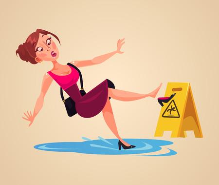 Illustration pour Inconsiderate woman's character slips on wet floor. Vector flat cartoon illustration - image libre de droit