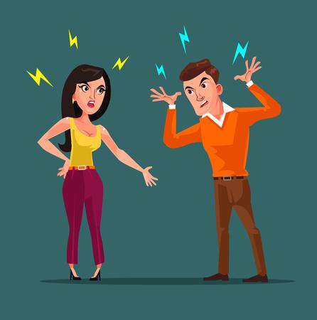 Ilustración de Angry man and woman characters quarreling. Vector flat cartoon illustration - Imagen libre de derechos