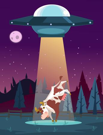 Ilustración de UFO kidnaps cow character. Vector cartoon illustration - Imagen libre de derechos