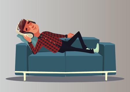 Illustration for Happy smiling boy. Vector cartoon illustration - Royalty Free Image