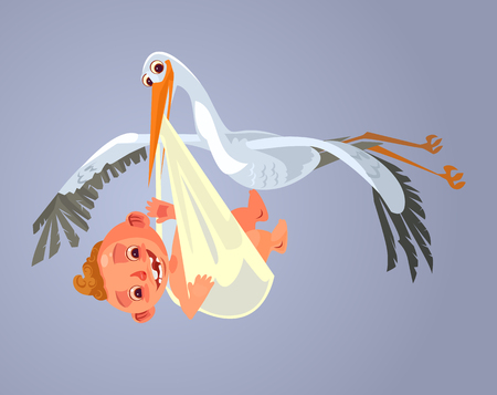 Illustration pour Stork character carry baby. Vector cartoon illustration - image libre de droit