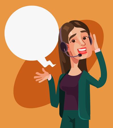 Ilustración de Happy smiling call center woman operator character. Vector cartoon illustration - Imagen libre de derechos