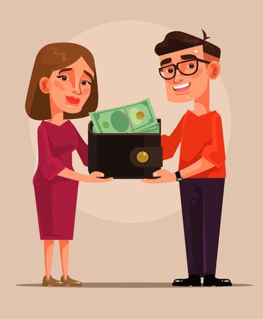Illustration pour Young family budget cartoon illustration - image libre de droit
