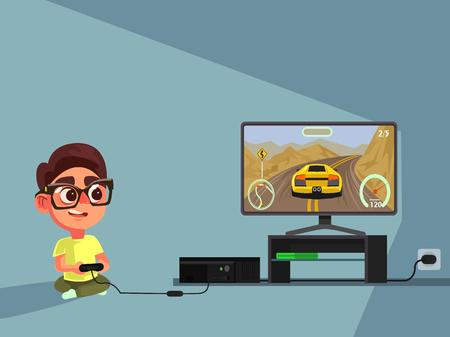 Illustration pour Little boy character play computer games. Vector flat illustration - image libre de droit