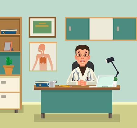 Ilustración de Doctor character waiting at reception. Vector flat cartoon illustration - Imagen libre de derechos