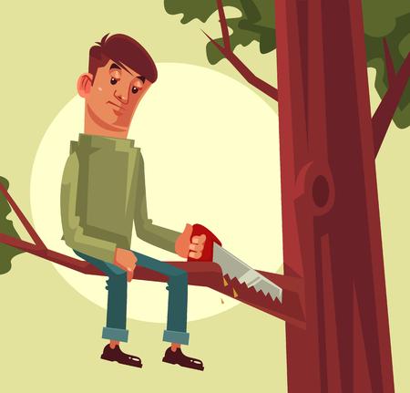 Illustration pour Do not cut branch you sitting proverb concept. Vector flat cartoon illustration - image libre de droit