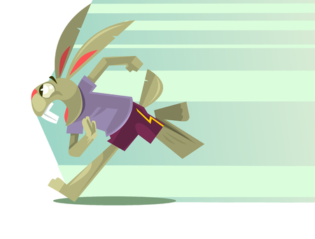 Ilustración de Rabbit character mascot running. Vector flat cartoon illustration - Imagen libre de derechos