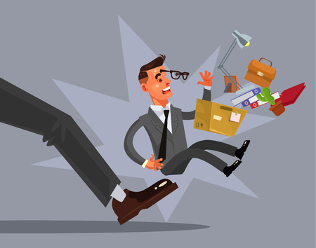 Ilustración de Sad unhappy looser fired man character from work. Vector flat cartoon illustration - Imagen libre de derechos