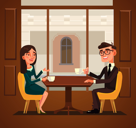 Ilustración de Two colleagues friends having break and drinking coffee. Vector flat cartoon illustration - Imagen libre de derechos