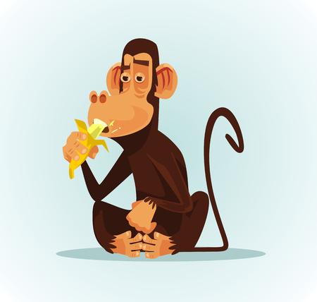Illustration for Happy smiling monkey character eating banana. Vector cartoon illustration - Royalty Free Image