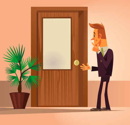 Illustration for Confusion office worker man character standing by closed door and thinking. Vector flat cartoon illustration - Royalty Free Image