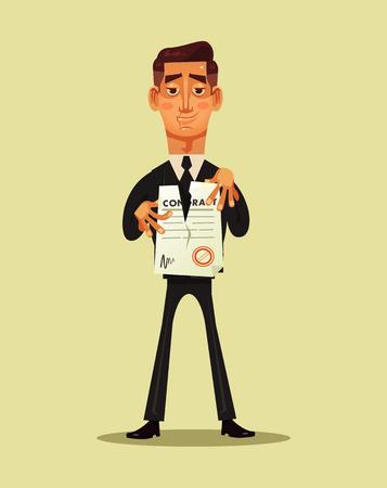 Illustration pour Businessman office worker break document contract. Project business finish. Vector flat cartoon illustration - image libre de droit