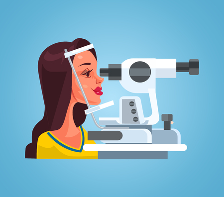 Illustration pour Woman checking eyesight with special medical equipment in ophthalmologist oculist office cabinet. Vector flat cartoon illustration - image libre de droit