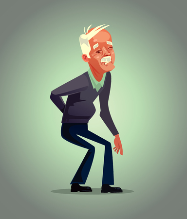 Illustrazione per Old man grandpa character have back pain. Osteoporosis retirement suffering concept. Vector flat cartoon illustration - Immagini Royalty Free
