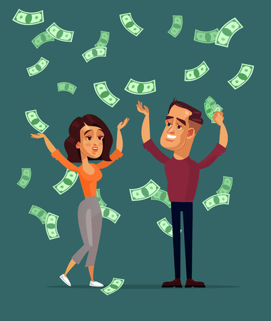 Illustration pour Happy smiling successful man as Lottery winner. A Vector flat cartoon graphic design isolated illustration - image libre de droit
