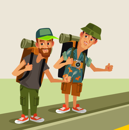 Illustration pour Two hipster man hitch hikers characters with backpack. Travel hitching Vector flat cartoon graphic design isolated illustration - image libre de droit
