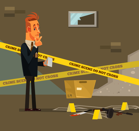 Illustration for Thinking young modern. Criminal investigate police inspector concept Vector flat cartoon illustration - Royalty Free Image