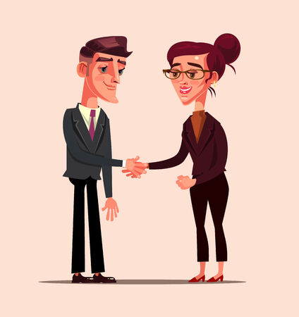 Illustrazione per Business office worker. Business people partner deal support concept Vector flat cartoon graphic design isolated illustration - Immagini Royalty Free