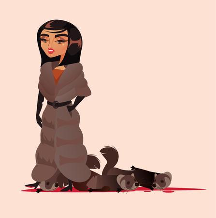 Illustrazione per Cruel woman wear fur coat with bloody dead body animals. - Immagini Royalty Free
