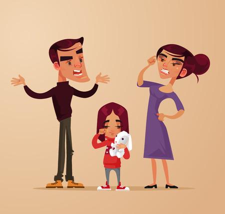 Illustration pour Angry sad girl, family problems vector flat cartoon illustration. - image libre de droit
