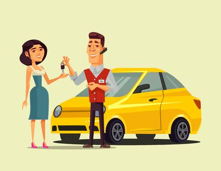 Illustration pour Rich happy smiling woman character. Transportation sale retail flat cartoon isolated vector illustration - image libre de droit