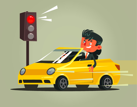 Illustrazione per Angry bad rushing driver car man. Transportation driving problems flat cartoon illustration graphic design concept - Immagini Royalty Free