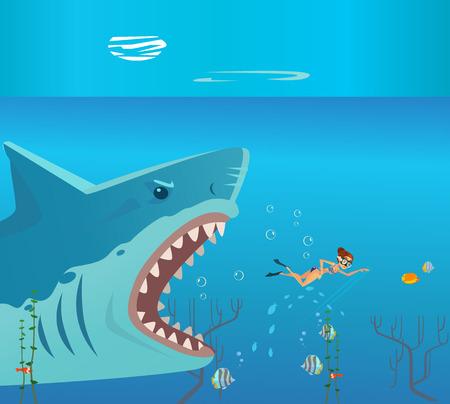 Ilustración de Huge grate big shark character attack small woman person victim. Danger diving vacation flat cartoon illustration graphic design concept element - Imagen libre de derechos