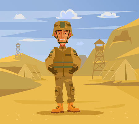 Illustration for Happy smiling soldier man character standing on camp background. Military war flat cartoon illustration graphic design concept element - Royalty Free Image