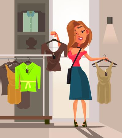 Illustration pour Happy smiling woman with a shopping bag. Shopping concept flat cartoon - image libre de droit
