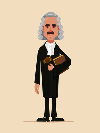 Illustration for Judge man's court worker's character holding and holding book and hammer. Low justice people protection concept flat cartoon - Royalty Free Image