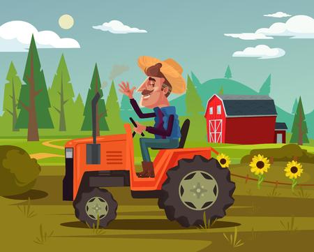 Illustration pour Happy smiling farmer. Agriculture farming country side flat cartoon graphic design concept illustration - image libre de droit