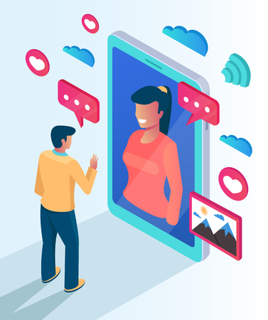 Illustration pour Two people character communicate talking by website smartphone. Online computer phone pc networking date meeting meeting concept. Vector flat cartoon isolated illustration - image libre de droit